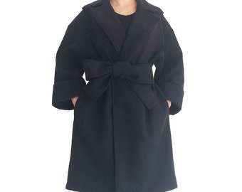 Black oversized cocoon coat warm outerwear wide-sleeve belted mid length winter jacket plus size loose trench coat fall women WINTER