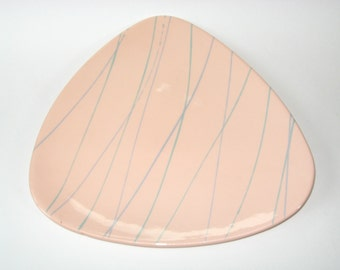 "Vohann California Mid Century Modern Pottery Atomic Large 13"" Triangular Tray or Platter"
