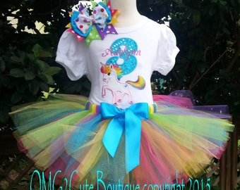 Rainbow Unicorn Birthday tutu outfit photo prop party dress