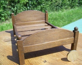 1/12th scale miniature medieval, tudor or later double bedstead.