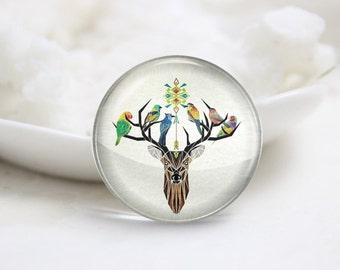 Handmade Round Deer Photo Glass Cabochons (P3588)