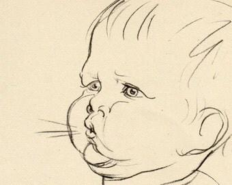 Vintage Antique 1930 Drawing of Baby Babies Illustration babies book art print 21