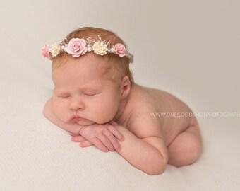Light Pink and Ivory Halo, Flower Halo, Flower Headband, Flower Girl Halo, Baby Tieback, Newborn Headband, Baby Tiara, Light Pink Tiara