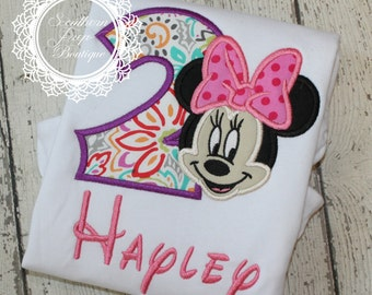 Second Birthday - Minnie Mouse Applique Shirt - Girl's Birthday shirt - Minnie Applique Shirt