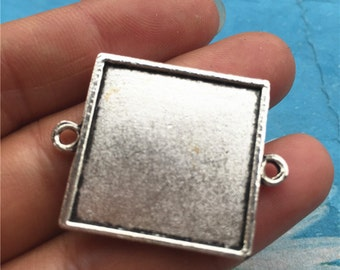 Both Sided-10pc 22.5mm tibetan silver Square cabochon/cameo/photo holder base setting pendants with two loops