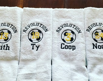 Personalized soccer towel, fast turn around, great seller, soccer team towels, soccer gift, message for team discount