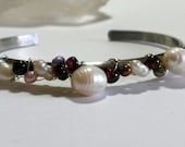 Sterling Silver BoHo Cuff with Pearls & Garnets - Women  Made To Order