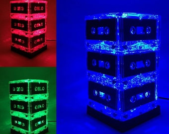 Music Lover Cassette Tape Lamp MixTape Night Light Lamp Centerpiece Upcycled Repurposed