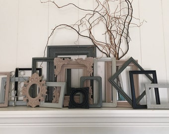 Gray Home Decor, Large Gallery Wall Collection of Frames, Vintage Frame Set, Painted Frames, Upcycled Frames, Funky