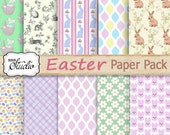 Easter Paper Pack, Bunnies, Instant Digital Download, 10 Custom Designed Papers Scrapbook, Cards, Printable Background paper, craft supplies