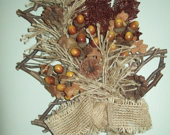 Wood Tree Shaped Wall Hanging Pine Cones and Acorns