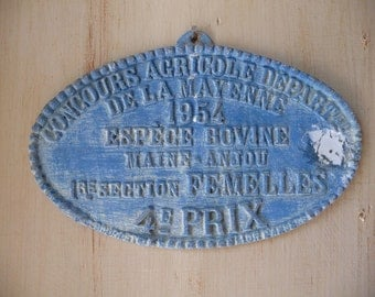 Antique French Wall Hanging 1954 Metal Award Sign Plaque Cow Prize Agricultural Show Trophy Prize
