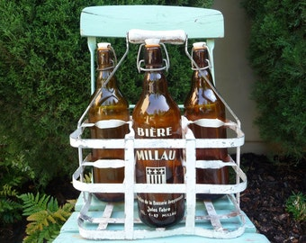 Vintage Wine Carrier French Bottle Carrier 6 Bottles Wine Rack Bottle Caddy Rustic French Country Metal Carrier