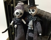 RESERVED FOR MICHELLE , Day of the dead style figures , art dolls , one of a kind , clay cloth and wire , halloween decoration , black and w