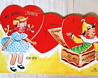 Vintage Valentine, Girl with Jack in the Box