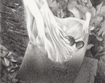 "miniature drawing, ""up in flames,"" very delicate and detailed drawing of burning photo and letters, noir style"