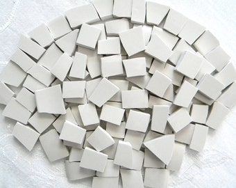 CREAM/BEIGE - Solid Color Mosaic Tiles - Recycled Plates - 50 Tiles