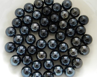 50 Black Glass Pearls for Crafts - Mosaic Supplies/Flora/Candle Displays