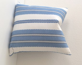 Denium Blue and white boho stripe decorative throw pillow cover