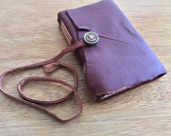 Ragged Leather-Mini Pocket Journal-Maroon-Travel Journal-Handmade-Gift Idea
