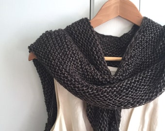 Hand Knit Wrap, Coffee