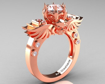 Art Masters Classic Winged Skull 14K Rose Gold 1.0 Ct White Sapphire Diamond Solitaire Engagement Ring R613-14KRGDWS