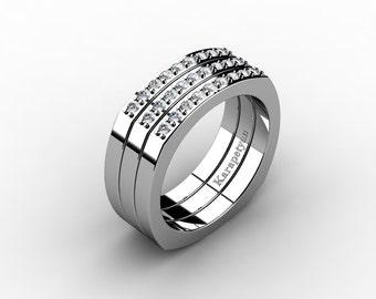 Mens Modern Conservative 950 Platinum Diamond Cluster Ring G10041-950PLATD