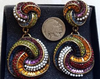 "Heidi Daus Sultry Swirl Paste Rhinestone Faux Pearl Clip On Door Knocker Earrings Over 3""L"