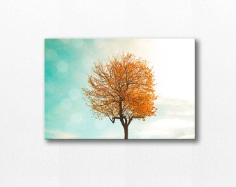fall canvas print autumn leaves large canvas art 20x30 fine art photography canvas print nature canvas gallery wrap fall leaves orange aqua