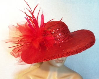 Wide Brim Red Hat, Kentucky Derby Hat, Garden Party Hat or Victorian Tea Party