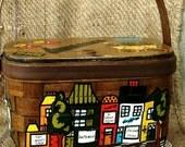 Retro 1960's Caro Nan Painted Wooden Purse - Folk Art Basket Handbag, Vintage Split Oak Purse, OOAK Retro Art Bag, Top Handle Wooden Handbag