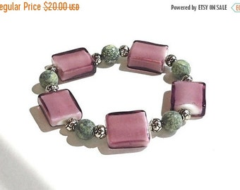 Clearance Sale Purple and Green Stretch Bracelet - Lamp work beads, Gemstones