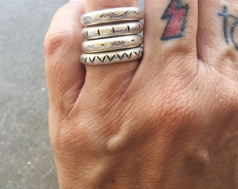 Crusher   Sterling Silver Stackable Ring   Stamped   Polished   Patina   Individual   Set of 3