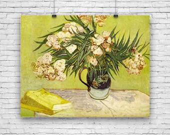 Oleanders, Floral Art Print Poster by Dutch Artist, Vincent Van Gogh