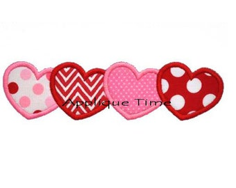 Instant Download Hearts in a Row Machine Embroidery Applique Design 4x4, 5x7 and 6x10