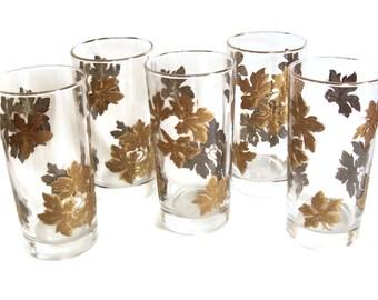 Vintage Gold Leaves Glasses, Tumblers, Mid-Century Barware