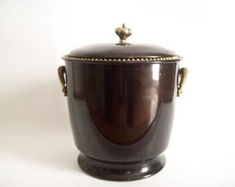 Black and Gold Ice Bucket, Hollywood Regency Barware