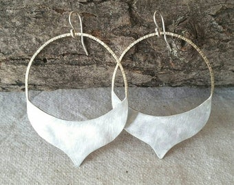 Marrakech . Lightly Hammered Sterling Silver and Brass Hoop Earrings