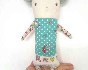 Fabric Doll, Rag Doll, Art Doll, Blue, Ballerina, Teal