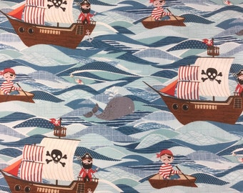 Makower Pirate Ships cotton craft fabric bybthe fat quarter