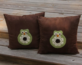 Owl Accent Pillows, Accent Throw Pillow, Owl Throw Pillow, Decorative Owl Pillows, Decorative Owl Cushion, Owl Pillow, Mrs Vs Crochet