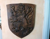 Antique wooden shield w lion of Rouerque France, hand carved French architectural salvaged architecture carved wooden wall hangingdecordecor