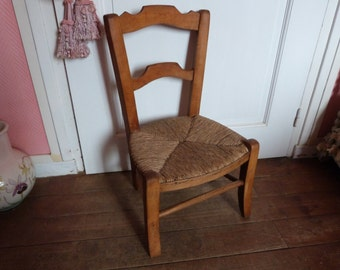 Antique French child's chair doll's chair furniture 1800s Provencal rush seat ladderback rustic chair for child, handmade display chair