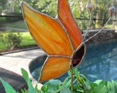 Stained Glass Yellow and Orange Textured Side View Butterfly -  Plant/Garden Stake - Twisted Wire Antenna - Original Design