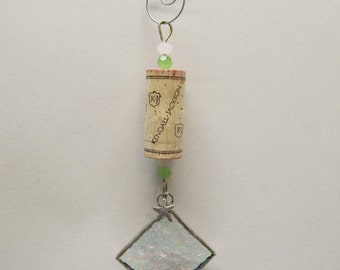Wine Cork Ornament with Clear Iridescent Granite Glass and Tibetan Silver Starfish Charm- Holiday Package Embellishment - Swarovski Crystals