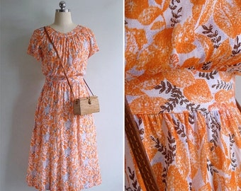 20% CNY SALE - Vintage 80's Orange Leaves Gathered High Waist Dress XS or S