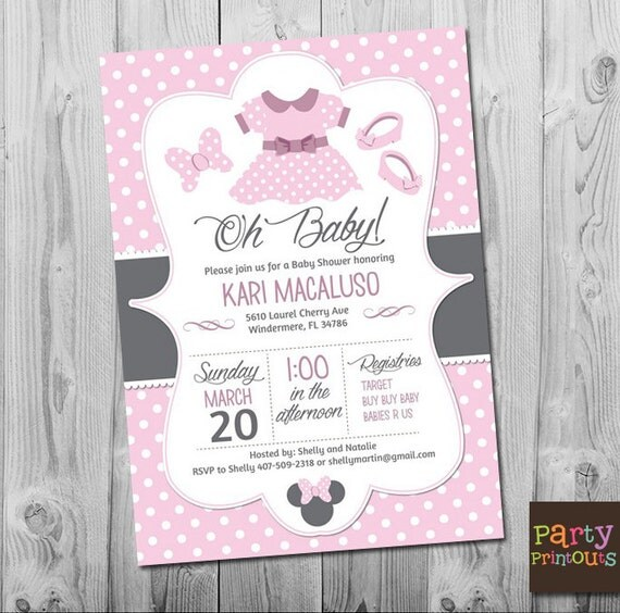 minnie mouse baby shower invitation printable baby girl custom invite