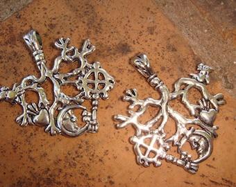 2Pack Cimaruta Amulet Charm Pendant Purse Toggle Strega Stregharia Talisman Italian Witch Craft