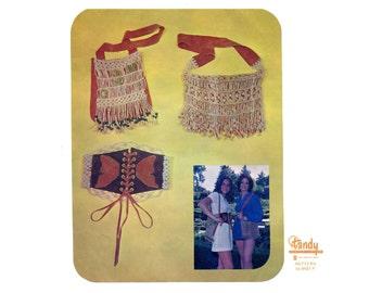 Hippie Boho 1970s Tandy Leather Accessories Pattern 2693 Macrame N Leather Handbags Purses Butterfly Lace Up Cinch Belt Vintage Pattern