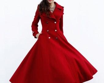 Wine Red Maxi Coat / Big Lapel Wool Coat / Double Breasted Jacket / Military Winter Coat - Custom Made - NC646